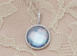 Blue Lapis, White Topaz and Mother of Pearl Duet Diamond Pendant