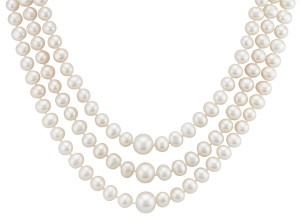 6-9.5mm Cultured Freshwater Pearl Three-Section Strand