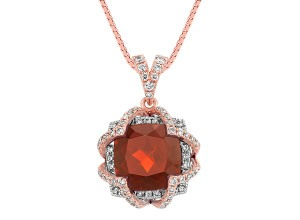 Cushion Cut Garnet and Round Diamond Two-Tone Gold Pendant