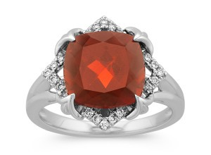 Cushion Cut Garnet and Round Diamond Ring in 14k White Gold