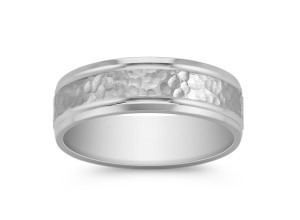 Polished and Hammered Comfort Fit Titanium Ring