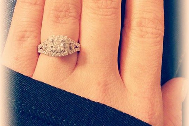 Square Halo Engagement Ring with Pave Set Diamonds