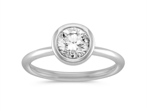 Bezel Setting Round Diamond Engagement Ring