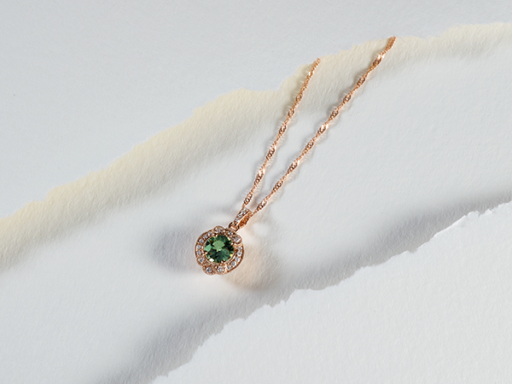 Green Sapphire Vintage Style Pendant With Diamonds
