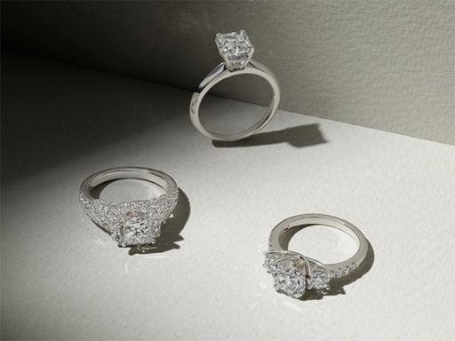 Three Platinum Diamond Engagement Rings