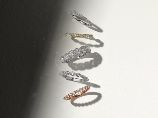 Wedding Band Line Up With Diamonds
