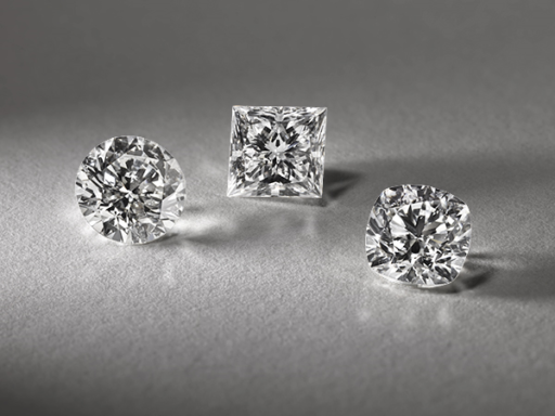 Three Natural Diamonds in Different Shapes