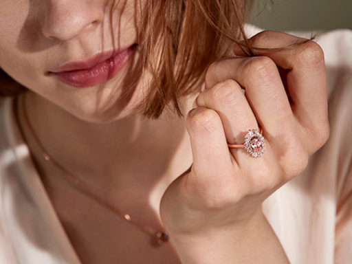 Close Up of Woman With Rose Gold Engagement Ring
