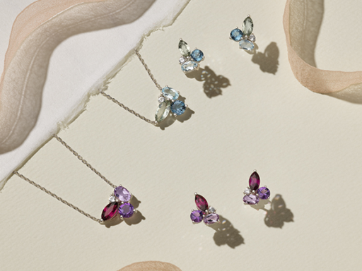 Sets of Gemstone Cluster Necklaces and Earrings in Purple and Blue