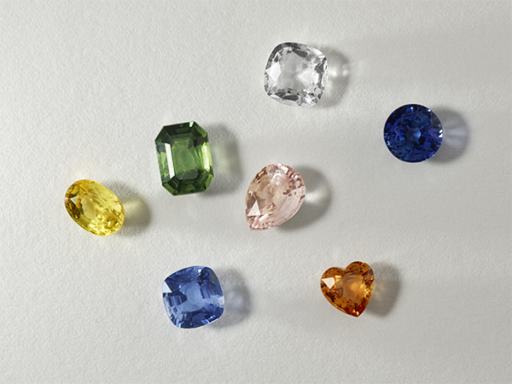 Colored and White Sapphires in Various Shapes