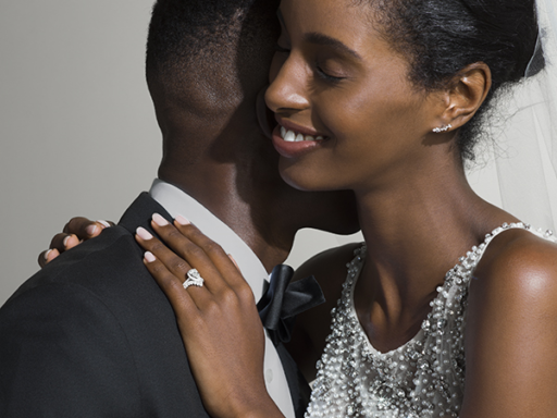 Woman With Her Hand on Fiance's Shoulder Wearing an Engagement Ring