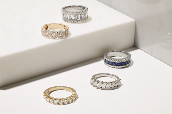 Selection of diamond and sapphire anniversary rings.
