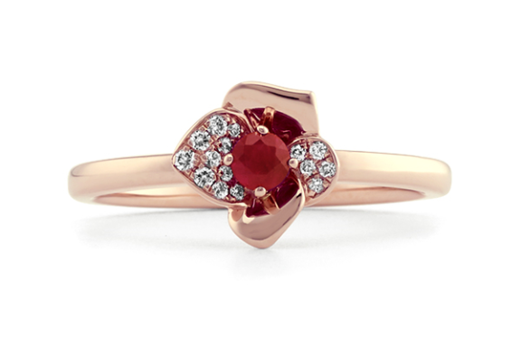 Ruby and diamond floral ring in rose gold.