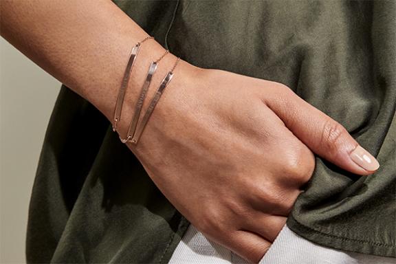 Close up of engravable bracelets.