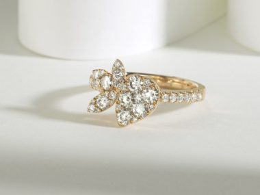 Yellow gold floral cluster engagement ring