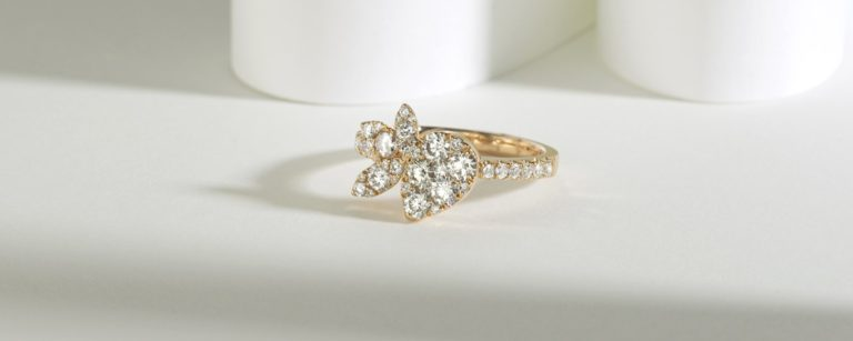Yellow Gold Floral Diamond Cluster Engagement Ring