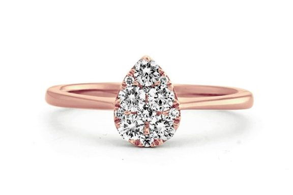 Rose Gold Pear Shaped Cluster Diamond Engagement Ring.