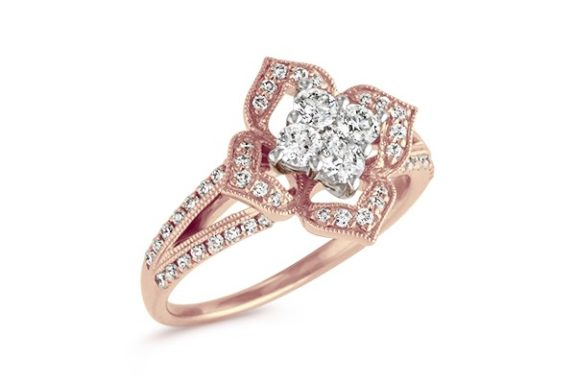 Rose Gold vintage style cluster engagement ring.
