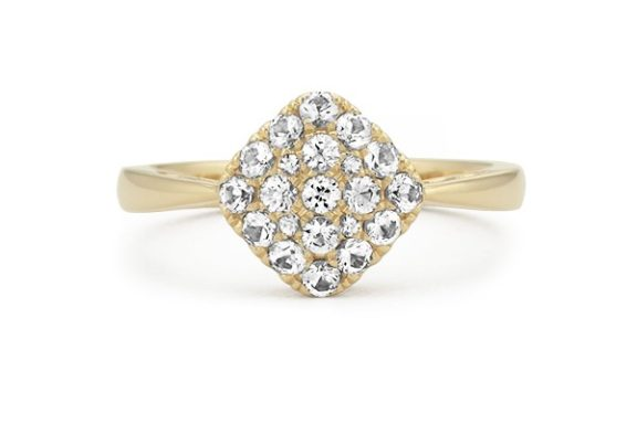 Yellow Gold White Sapphire Cluster Engagement Ring.