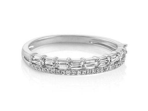 Baguette and diamond wedding band with pave set diamonds.