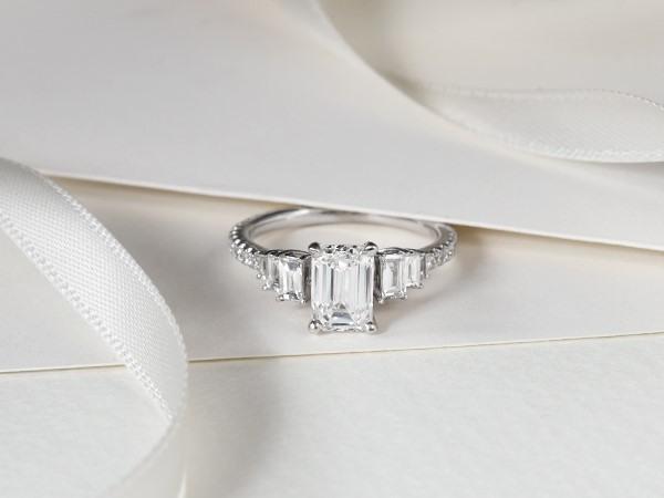 Baguette diamond engagement ring.