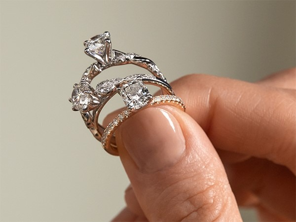 Variety of engagement rings close-up.