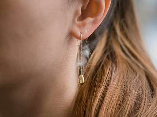 Yellow Gold pear-shaped dangle threader earrings.