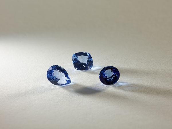 Three loose sapphire stones.