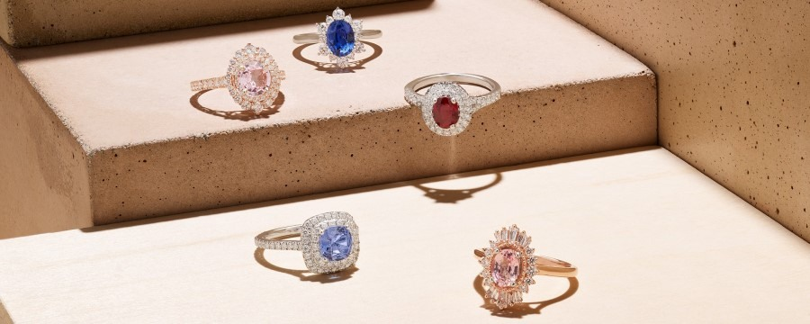 Variety of colored sapphire engagement rings.