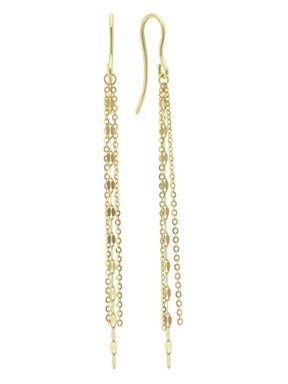 Yellow gold dangle strand earrings.