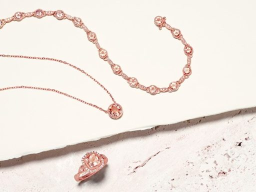 Morganite necklace, bracelet and ring.