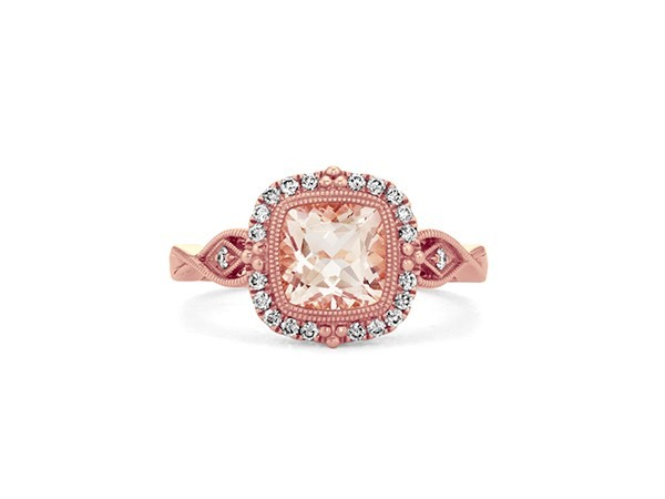 Morganite and diamond cocktail ring.