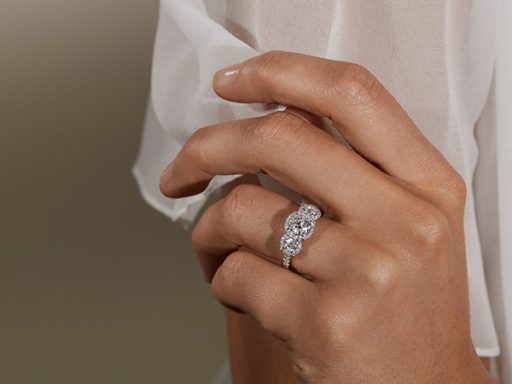 Preset halo diamond engagement ring.