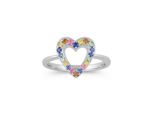 Rainbow sapphire sterling silver heart ring.
