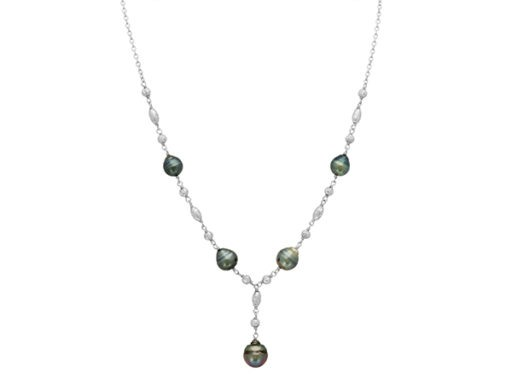Cultured Tahitian Pearl Y Necklace in Sterling Silver