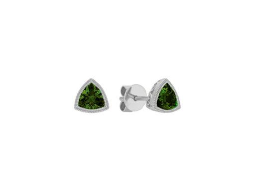 Vintage Trillion Chrome Diopside Earrings