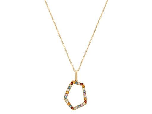 Geometric Multi-Colored Gemstone Pendant