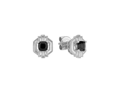 Black Sapphire Art Deco Earrings