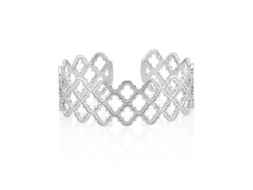 Cutout Sterling Silver Bangle Bracelet