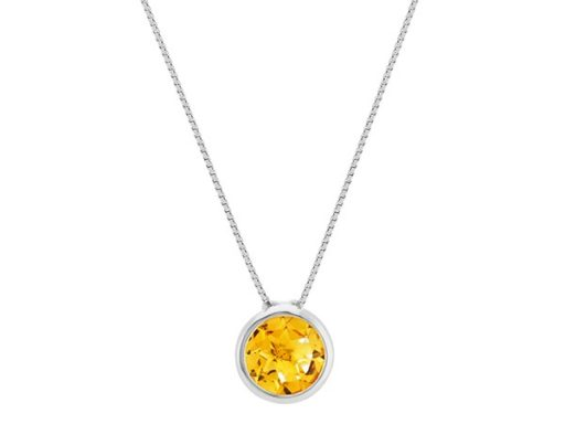 Bezel-set citrine pendant necklace.