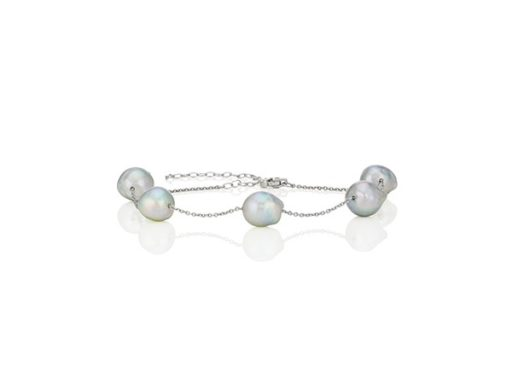 Cultured natural blue akoya pearl tin cup bracelet