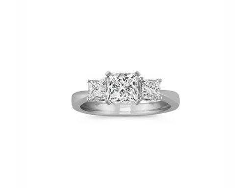 Classic Three-Stone Princess Cut Engagement Ring