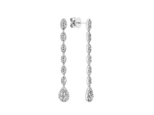 Diamond Cluster Drop Earrings