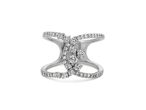 Pave-set diamond swirl ring