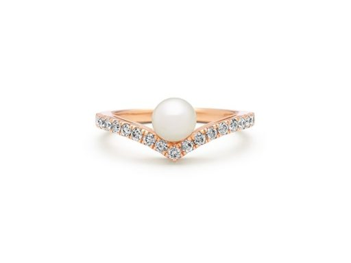 Pearl and diamond ring in 14k rose gold