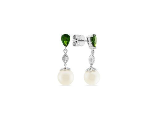 Freshwater pearl, white sapphire and chrome diopside earrings