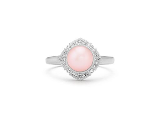 Cultured freshwater pearl and diamond vintage ring