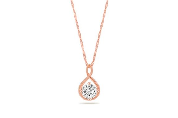 Swirl Pendant in 14k rose gold.