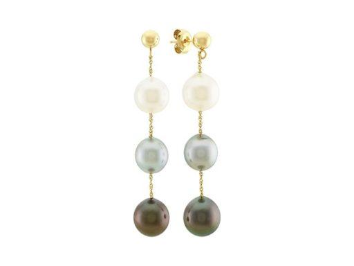 South sea and tahitian pearl dangle earrings