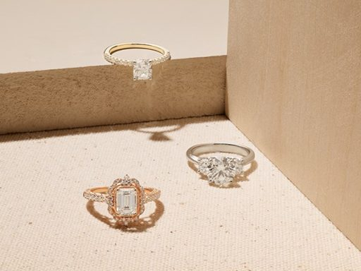 Three varieties of engagement rings.